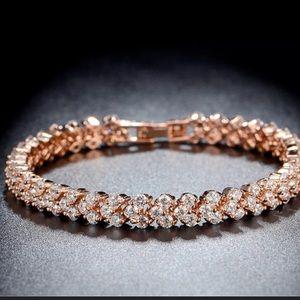 New Crystal Rosegold Rhinestone Tennis Bracelet